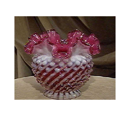 Fenton Art Glass Cranberry Hobnail Vase Qvc