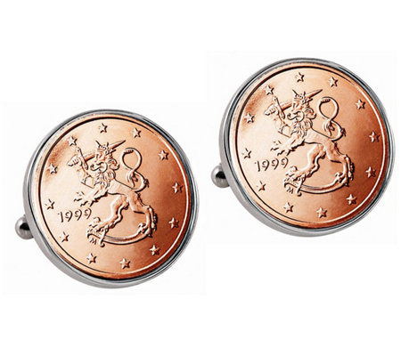 American Coin Treasures Finnish 2 Euro Coin Cuff Links
