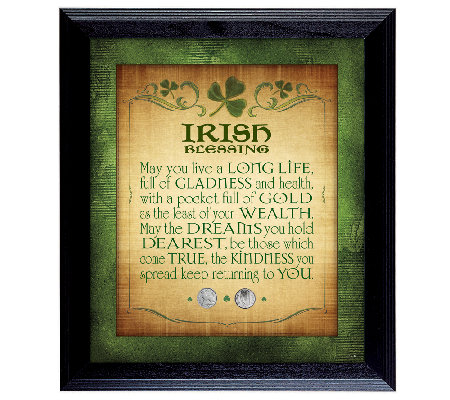 Irish Blessing with Two Three-Pence Wall Frame