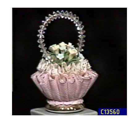 Capodimonte Porcelain Lace Basket with Crystals