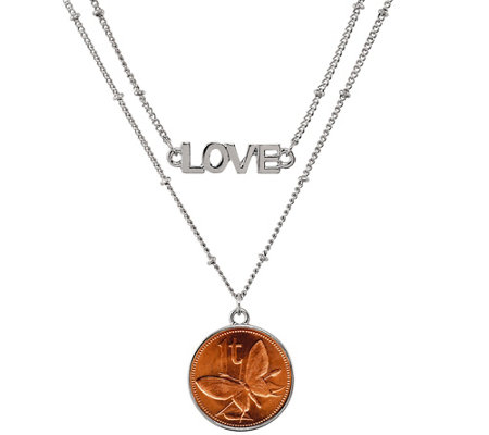 American Coin Treasures Butterfly Coin Love Necklace