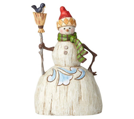 Jim Shore Heartwood Creek Folklore Snowman withBroom Figurine