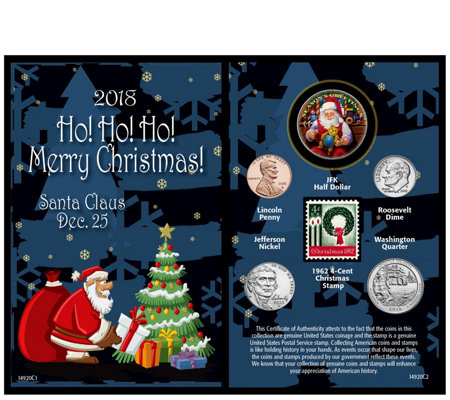 American Coin Treasures 2018 Santa Coin and Stamp Card