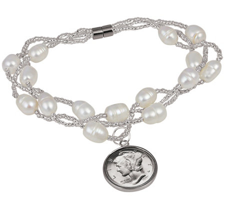 American Coin Treasures Cultured Freshwater Pearl Bracelet