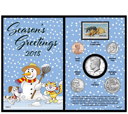 American Coin Treasures 2018 Snowman Coin and Stamp Card