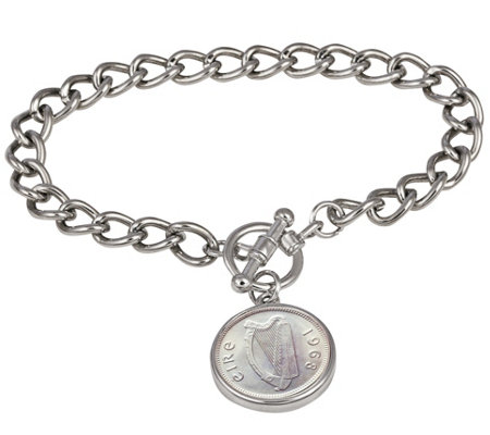 American Coin Treasures Irish Coin Silvertone Toggle Bracelet
