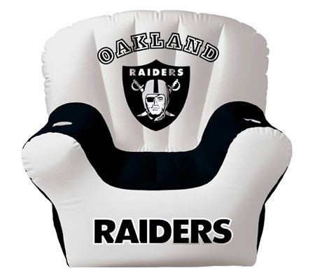 Oakland Raiders Inflatable Chair With Two Drinkholders U2014 QVC.com