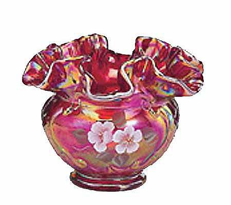 Fenton Art Glass 4 12 Red Carnival Glass Vase Qvc