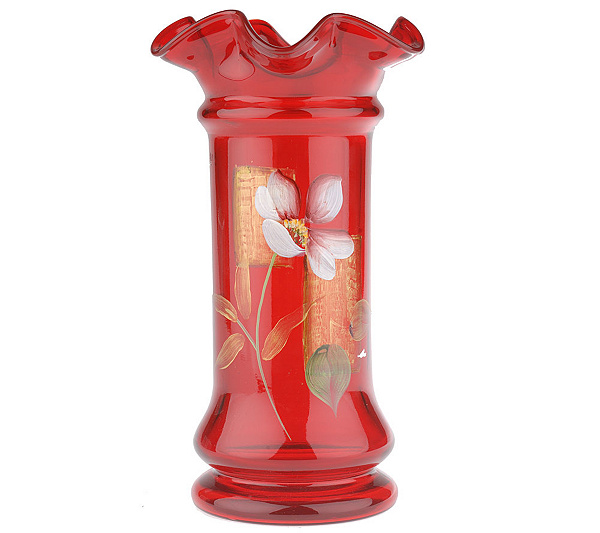 Fenton Art Glass Limited Edition Ruby 9 Inch Pillar Vase Page 1