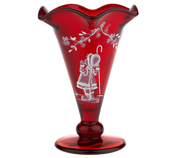 Fenton Art Glass Ruby Mary Gregory Vase Page 1 Qvc