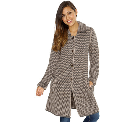 save off 3d242 3df32 HEKLA & CO. Cardigan lange Form Grobstrick Made in Italy — QVC.de