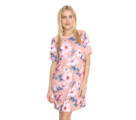 LITTLE ROSE MF Jersey Interlock Bigshirt, 1/2-Arm Raglanärmel Floraler Druck