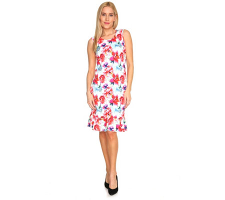TODAY´S WOMAN Kleid ärmellos Volantsaum allover Print