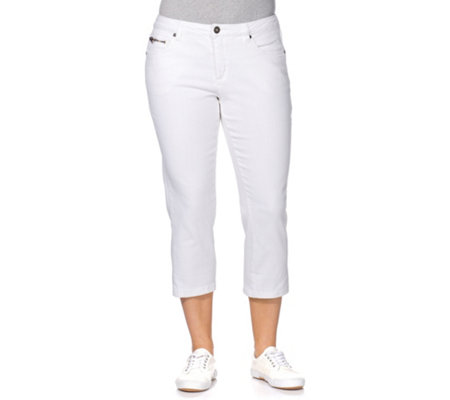 sheego Capri-Stretch-Jeans 5-Pocket-Form Used Effekte schmale Beinform