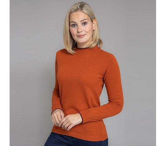 HEKLA & CO. Pullover, 1/1-Arm Stehkragen mit Kontrastfarbe Made in Italy