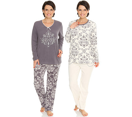 100% authentic 0c068 61f06 LITTLE ROSE MF Flanell Fleece Pyjama 1/1-Arm Strassdetail Doppelpack —  QVC.de