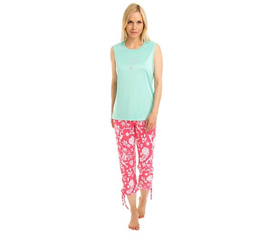 LITTLE ROSE Pyjama, ohne Arm Strassdetail 7/8-Hose Kolibridruck