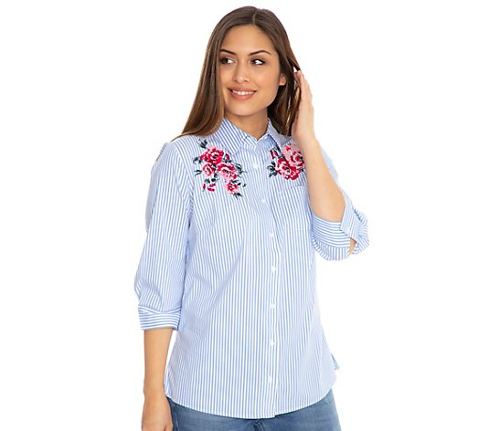 DENIM & CO. Bluse 3/4-Arm gestreift Blüten-Stickerei