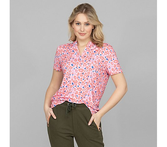 LYLA Homewear Shirt 1/2-Arm Zierausschnitt Allover-Print