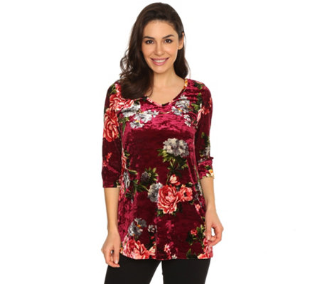 KIM & CO. Shirt, 3/4-Arm Samt Jersey lange Form Druckvielfalt
