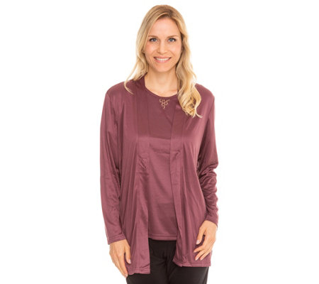 JERYMOOD HOMEWEAR MF Jersey Interlock Twinset mit Spitze Shirt, 1/2-Arm Cardigan, 1/1-Arm