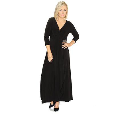 TOGETHER Kleid, lange Form V-Ausschnitt Wickel-Optik ...
