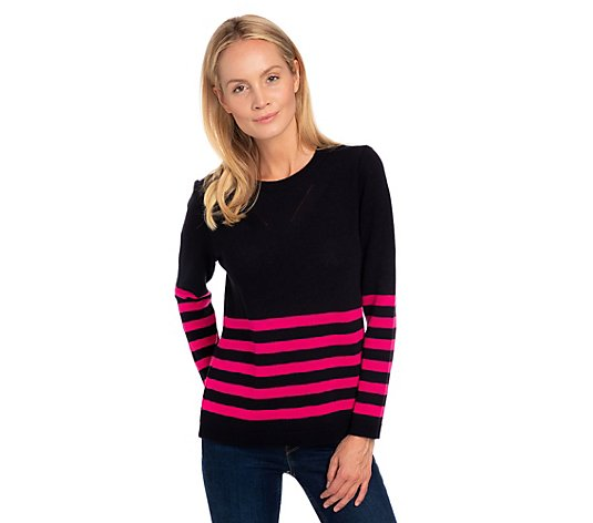 THE JETSETTERS Pullover, 1/1-Arm Streifen-Dessin am Saum Oversize-Form