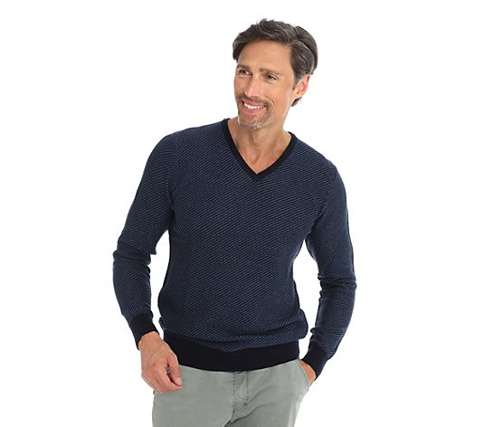 COMMANDER Pullover, 1/1-Arm V-Ausschnitt Strukturschnitt regular fit