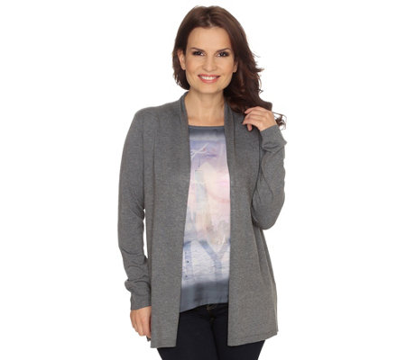 FRIEDA LOVES NYC Cardigan, 2in1-Optik Strickjacke vorne Satin Digitalprint & Strass