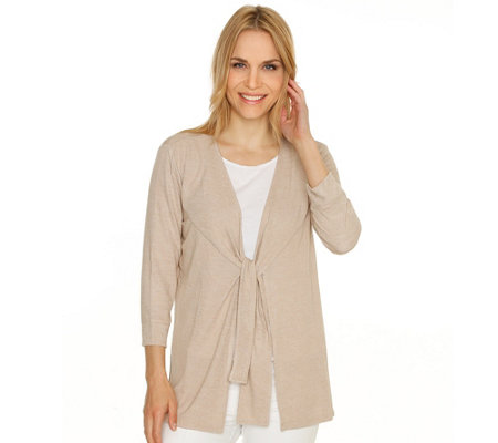 H BY HALSTON Cardigan 3/4-Arm offene Front Bindeband