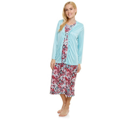 LITTLE ROSE MF Jersey Interlock Nachthemd ohne Arm mit Cardigan