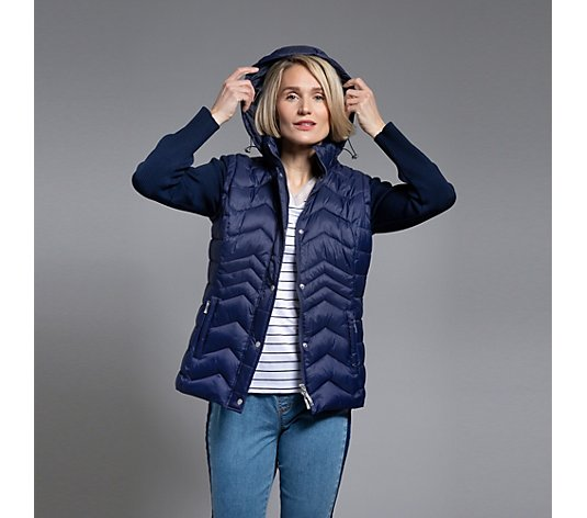 DENIM & CO. Steppjacke 2in1 Weste und Strickärmel Kapuze Knopfleiste