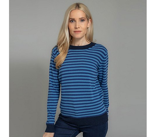 HEKLA & CO. Pullover, 1/1-Arm Rundhalsausschnitt geringelt Made in Italy