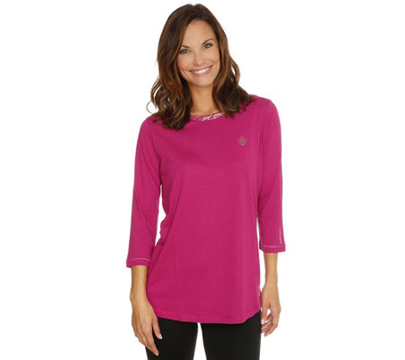 BARBARA BECKER MIAMI FIT Jerseyqualität Loungeshirt, 3/4-Arm Metallicdruck