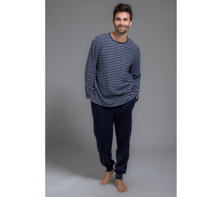 MEN'S TOUCH Pyjama Mikrofaser Fleece 1/1-Länge