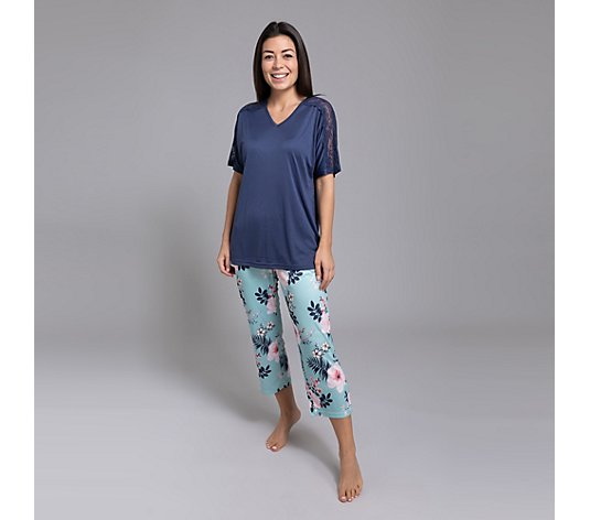 LITTLE ROSE Pyjama, 1/2-Arm Mikrofaser 7/8-Hose Blumendruck
