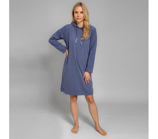 POLARSTERN HOMEWEAR Loungekleid Flanell Fleece 100cm Kapuze