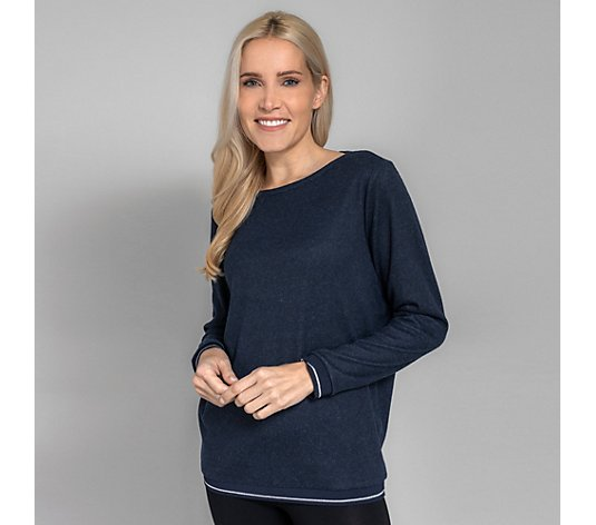 LYLA Homewear Shirt, 1/1-Arm Soft-Strick Glanzgarn Bündchen