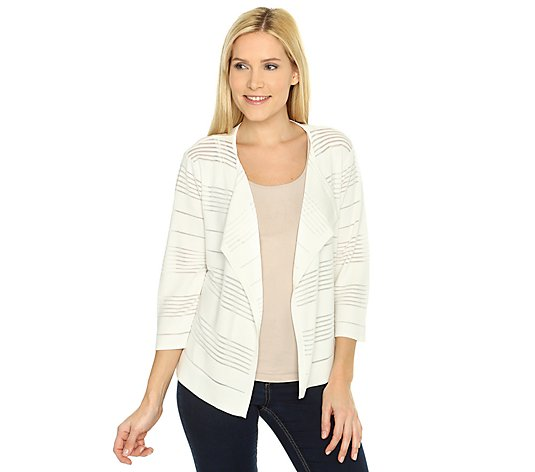 G.W. by GERRY WEBER Strickjacke 3/4-Arm Rundhalsausschnitt Streifenstruktur