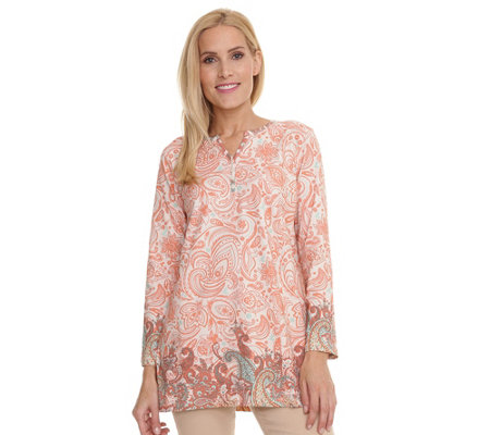 DENIM & CO. Longshirt 1/1-Arm Zierknopfleiste Paisleydruck