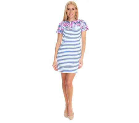 low priced a20d8 543be TOM JOULE Kleid 1/2-Arm Rundhalsausschnitt Ringeldesign — QVC.de