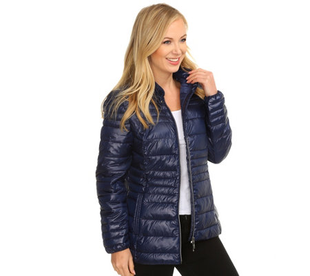 DENIM & CO. Steppjacke Bikerstyle 2-Wege-Zipper Stehkragen