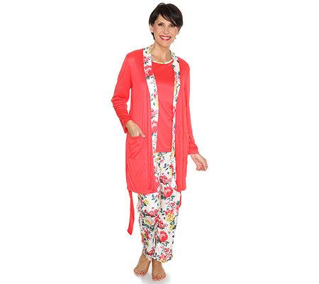 the best attitude 62ad0 a577a LITTLE ROSE MF Jersey Pyjama,Set 3-tlg. Morgenmantel Blumen-Druck — QVC.de