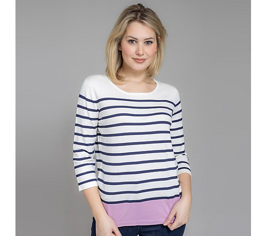 DENIM & CO. Pullover 3/4-Arm Rundhalsausschnitt gestreift