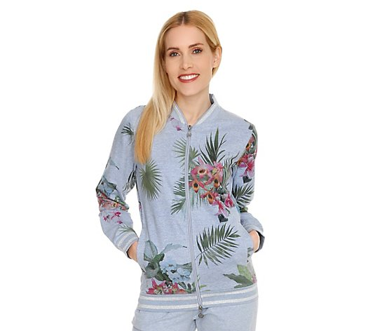 BARBARA BECKER MIAMI FIT, Blouson Sweat floraler Druck Glanzgarn