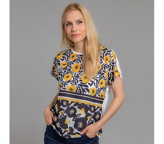 DENIM & CO. Shirt Kurzarm Rundhalsausschnitt Blumendruck