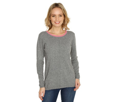 HEKLA & CO. Pullover Kontrastausschnitt 7% Kaschmir Made in Italy