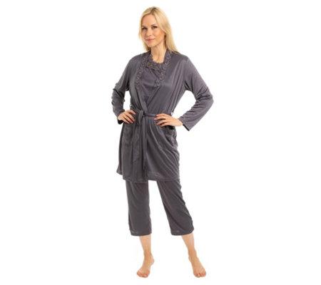 quality design 78fd5 dbb39 LITTLE ROSE Pyjama Set, 3tlg. mit Morgenmantel 7/8-Hose Spitzendetails —  QVC.de