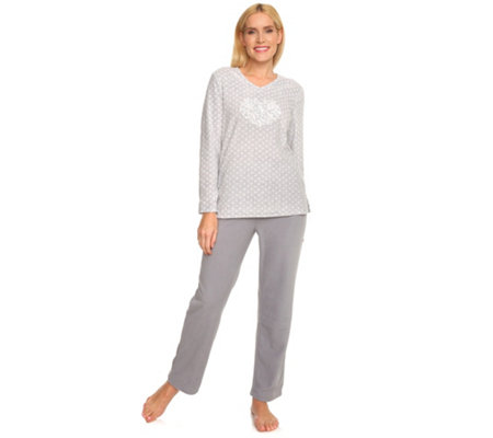 buy popular d8d26 fe3e0 LITTLE ROSE MF Flanell Fleece Pyjama, 1/1-Arm Spitzenapplikation  Pünktchendruck — QVC.de