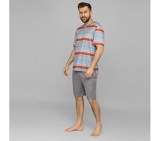 MEN'S TOUCH Pyjama Set Shirt, 1/2-Arm gestreift Bermuda